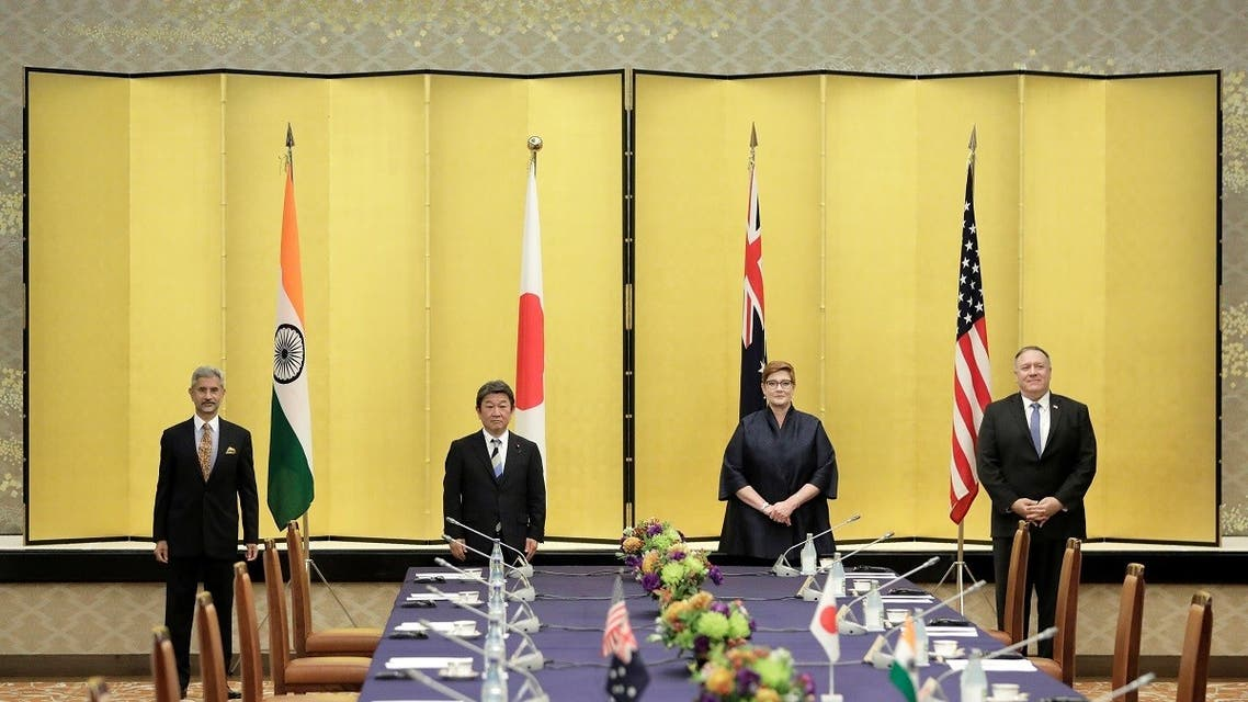 Indian Foreign Minister Subrahmanyam Jaishankar, Japan's Foreign Minister Toshimitsu Motegi, Australia's Foreign Minister Marise Payne and US Secretary of State Mike Pompeo pose for a picture prior the Quad ministerial meeting in Tokyo, Japan, on October 6, 2020. (Reuters)_1088708083_RC2XCJ9HU6PO_RTRMADP_3_JAPAN-FOREIGNMINISTERS