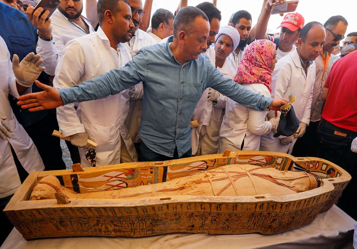 A mummy is seen inside a painted coffin discovered at Al-Asasif Necropolis in the Vally of Kings in Luxor. (Reuters)