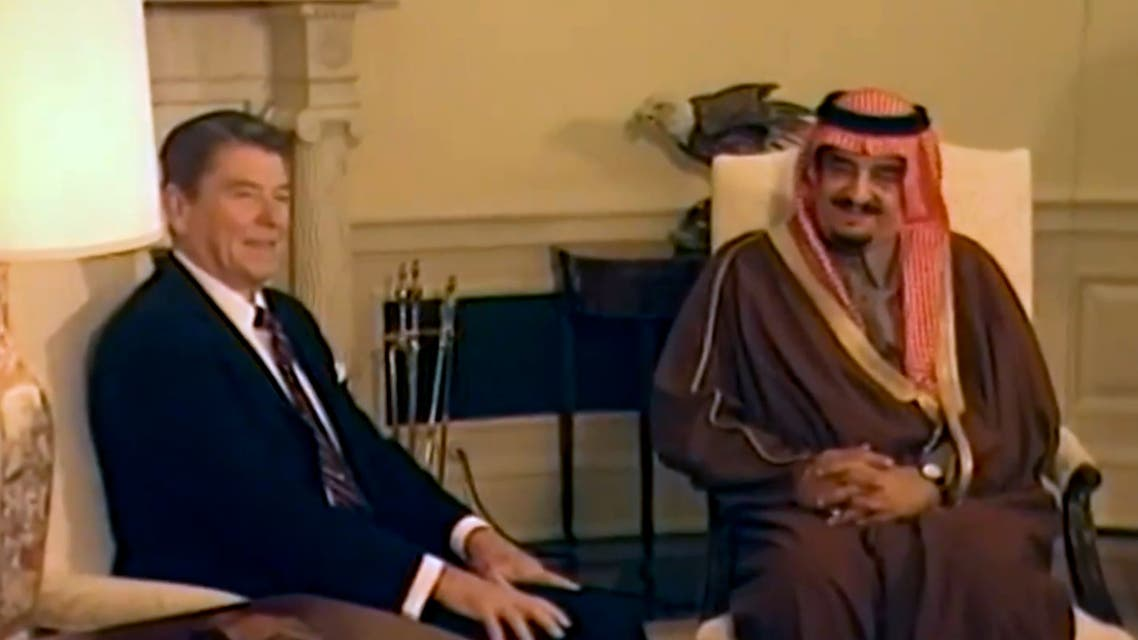 US President Ronald Reagan with Saudi Arabia's King Fahd. (Footage)
