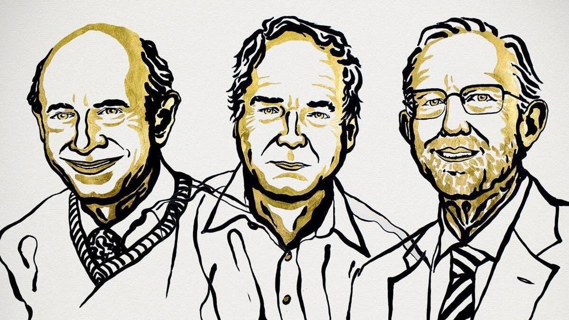 رسم يجسد الفائزين الثلاثة بنوبل للطب عام 2020