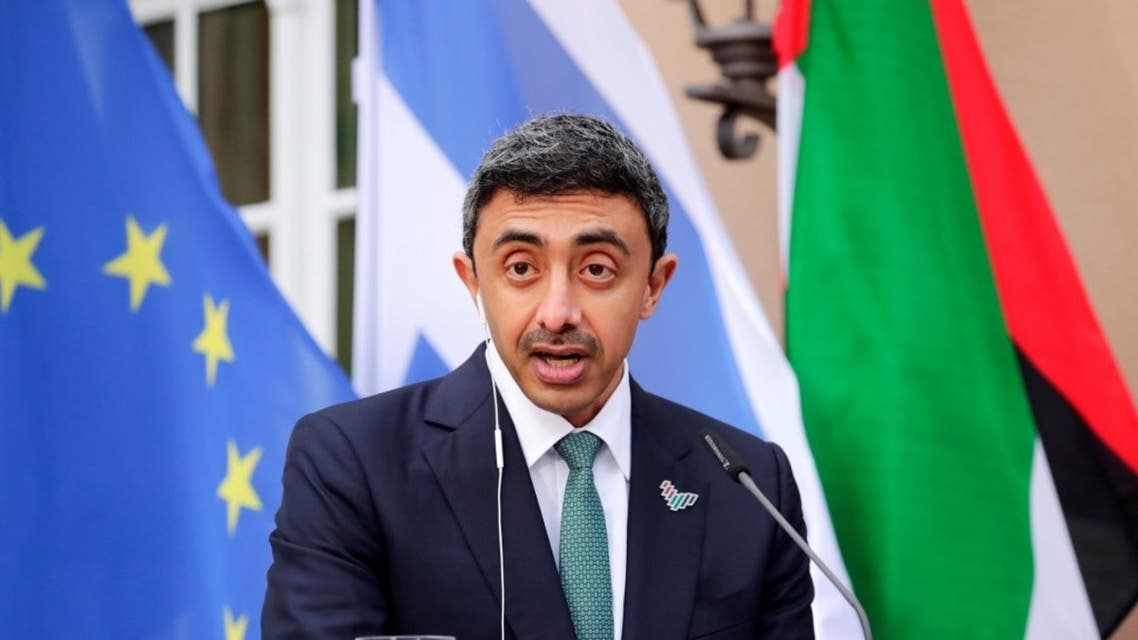 UAE Foreign Minister Sheikh Abdullah bin Zayed al-Nahyan speaks during a news conference with his Israeli counterpart and German Foreign Minister following their historic meeting at Villa Borsig in Berlin, on October 6, 2020. (AFP)