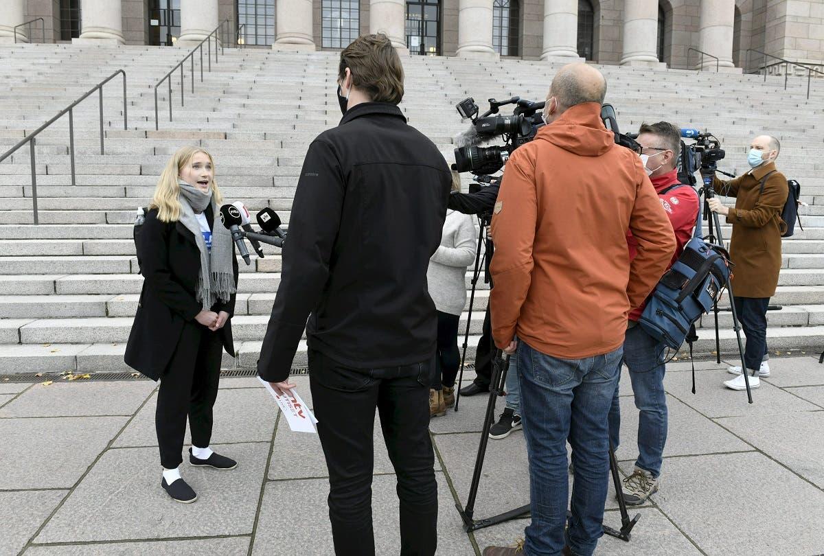 Aava Murto speaks to the press in Helsinki, Finland, on October 7, 2020. (Heikki Saukkomaa/Lehtikuva/AFP)