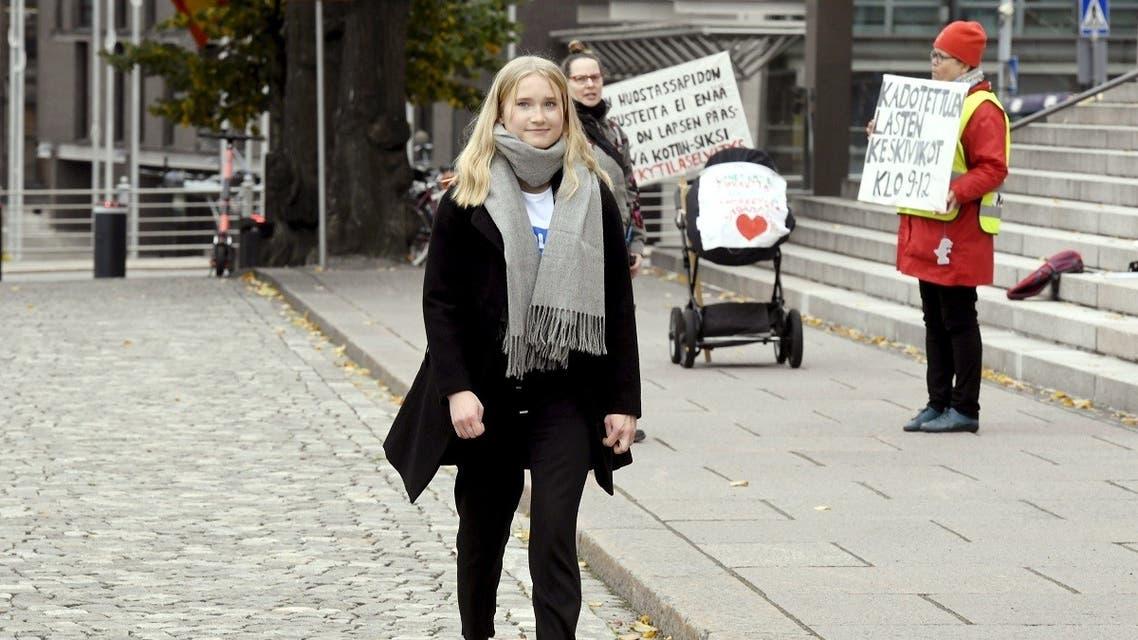 Aava Murto took over the job of Finnish PM Marin for one day in Helsinki, Finland, on October 7, 2020. (Heikki Saukkomaa/Lehtikuva/AFP)