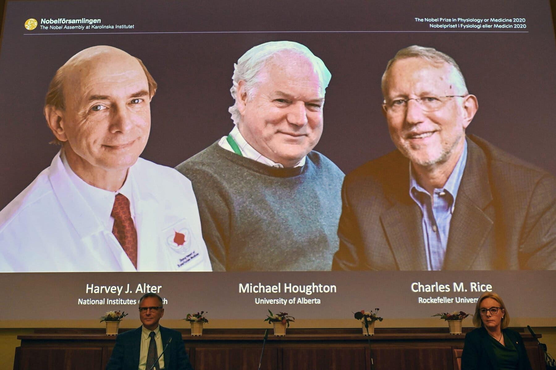 صورة من حفل اختيار الفائزين بنوبل للطب عام 2020