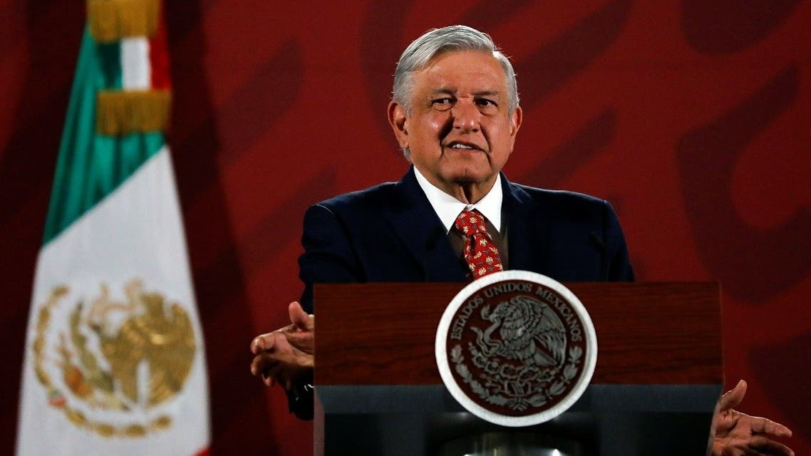 Mexico's President Andres Manuel Lopez Obrador gestures during his daily news conference at National Palace in Mexico City, Mexico February 14, 2020. (Reuters)