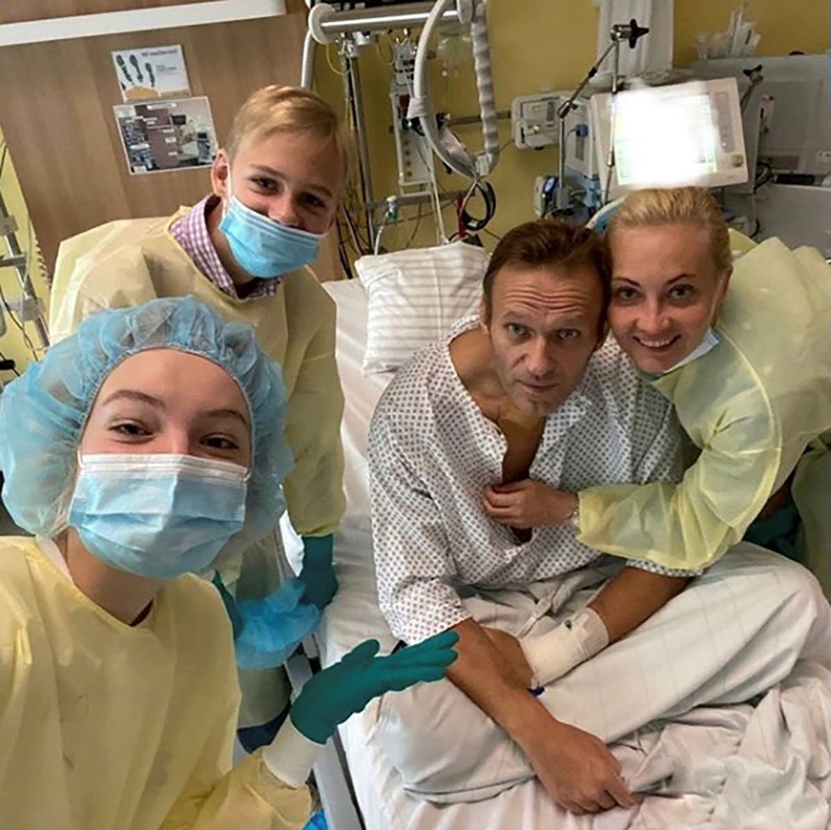 Russian opposition politician Alexei Navalny and his family members at Charite hospital in Berlin, Germany, in this undated image obtained from social media September 15, 2020. (Reuters)