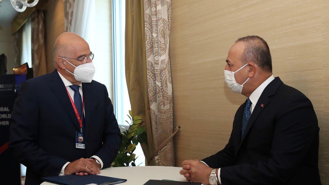 Turkish FM Cavusoglu meets with his Greek counterpart Dendias in Bratislava. (Reuters)