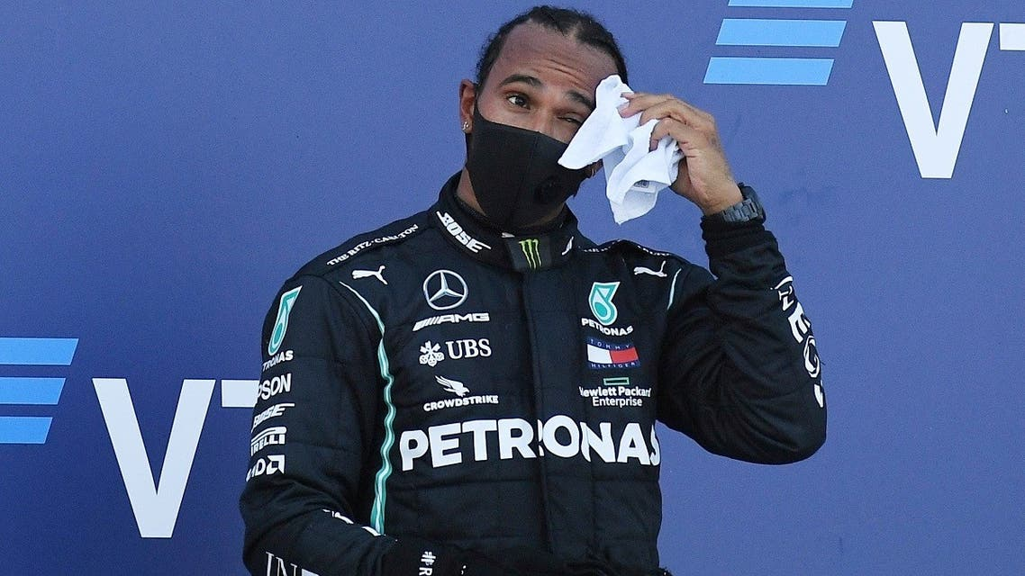 2hird placed Mercedes' Lewis Hamilton on the podium after the F1 race during the Russian Grand Prix, Sochi, Russia, on September 27, 2020. (Reuters)020-09-29T164756Z_849070356_RC2G8J9YJKRQ_RTRMADP_3_MOTOR-F1-HAMILTON