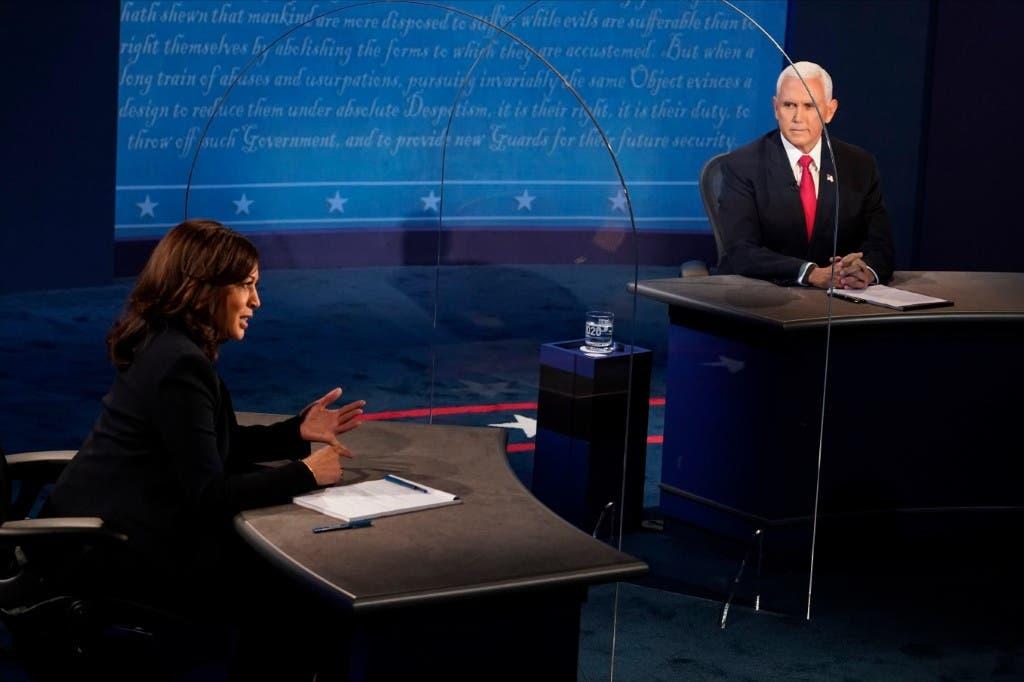 جانب من المناظرة بين مايك بنس وكامالا هاريس