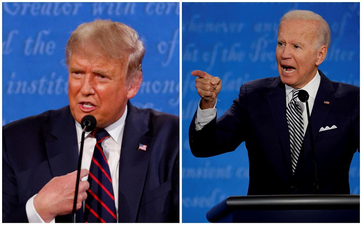 A combination picture shows US President Donald Trump and Democratic nominee Joe Biden speaking during the first 2020 presidential campaign debate, Sept. 29, 2020. (Reuters)