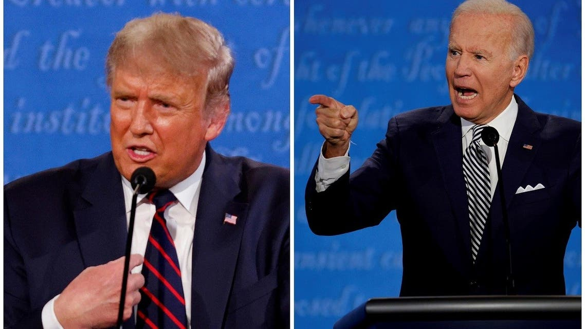 US President Donald Trump and Democratic nominee Joe Biden speaking during the first 2020 presidential campaign debate, Sept. 29, 2020. (Reuters)