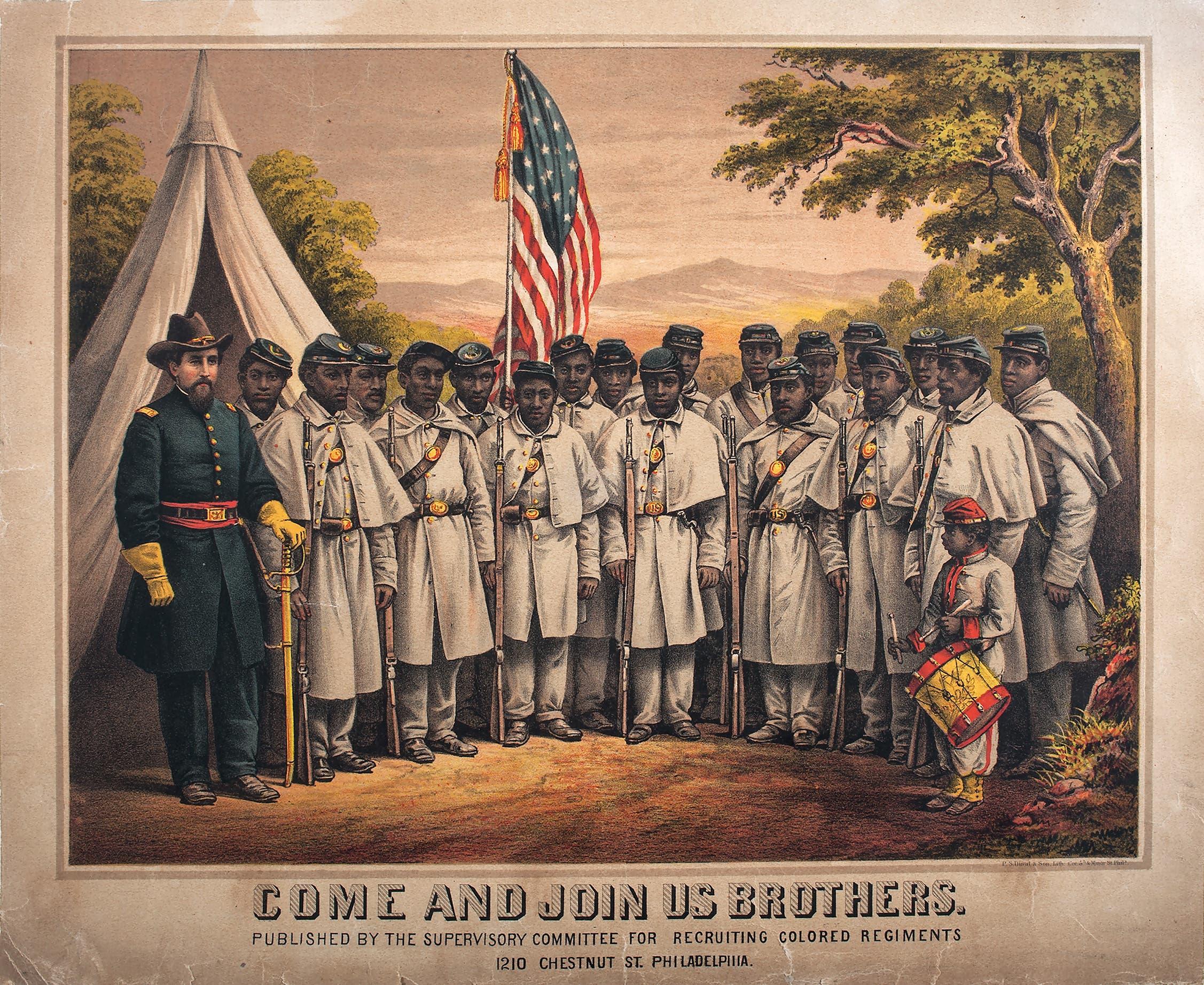 لوحة تجسد عددا من السود ضمن جيش الاتحاد