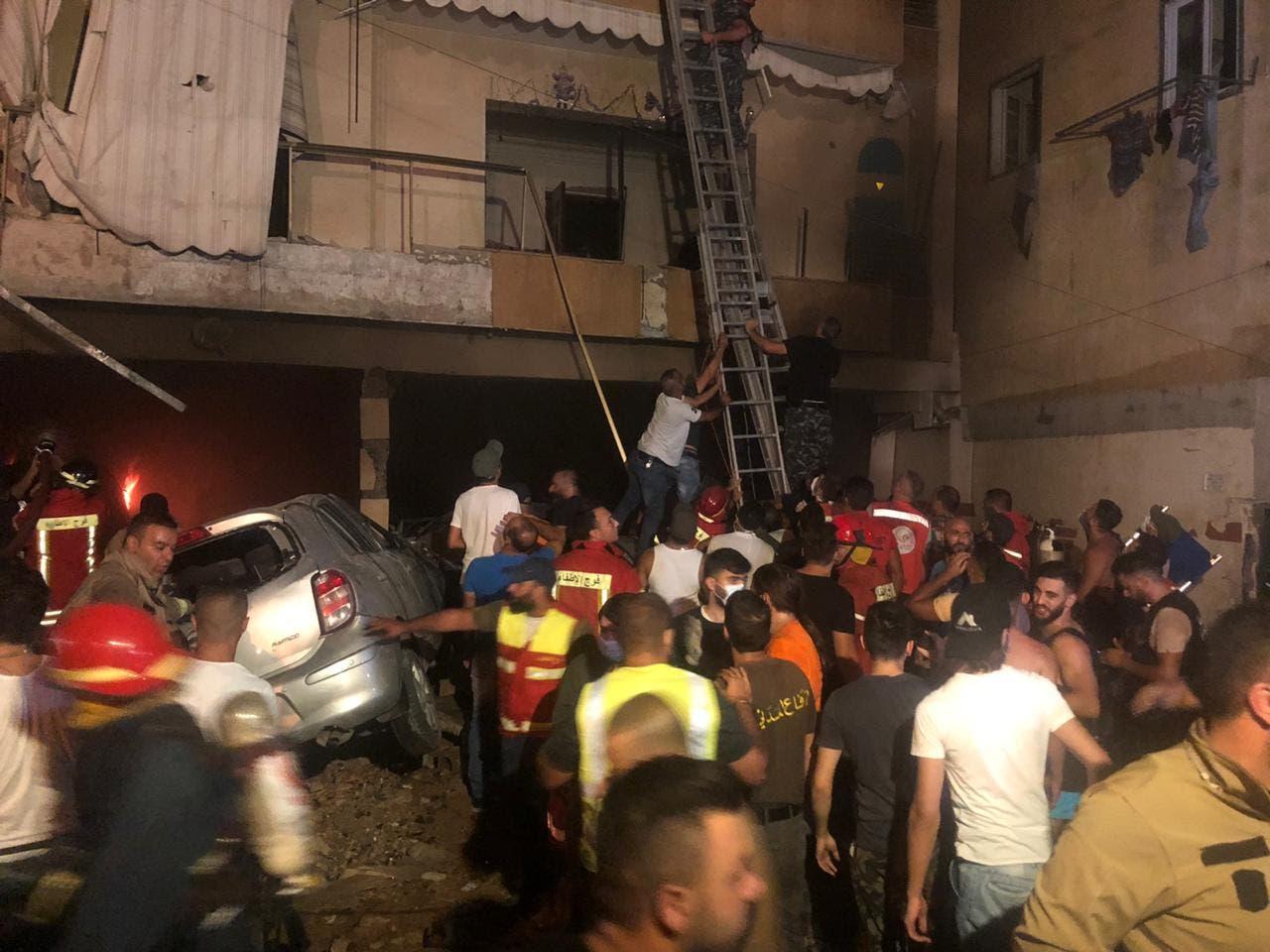 انفجار في خزان لمادة المازوت في بيروت