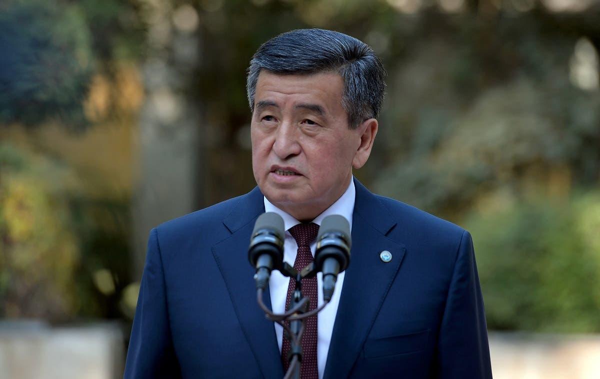 Kyrgyzstan's President Sooronbai Jeenbekov speaks after a vote at a parliamentary elections in Bishkek, Kyrgyzstan October 4, 2020. (Reuters)