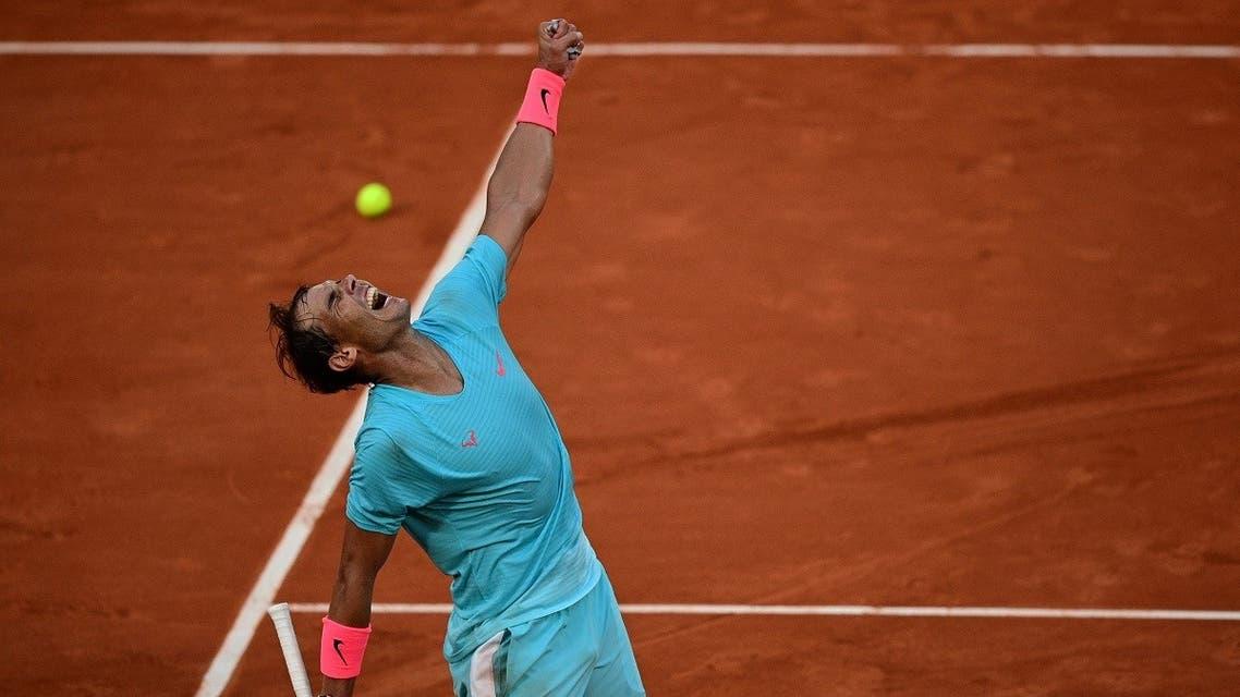 Spain's Rafael Nadal celebrates after winning against Argentina's Diego Schwartzman during their men's singles semi-final tennis match. (AFP)