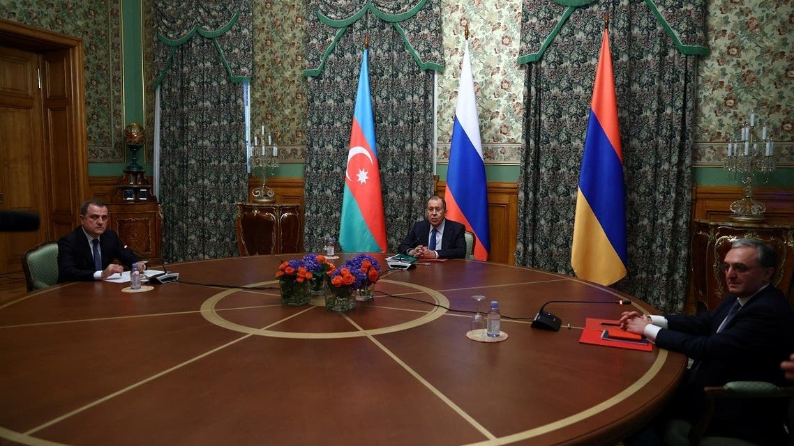 Russian Foreign Minister Sergei Lavrov, Azeri Foreign Minister Jeyhun Bayramov and Armenian Foreign Minister Zohrab Mnatsakanyan meet in Moscow, Oct. 9, 2020. (Reuters)