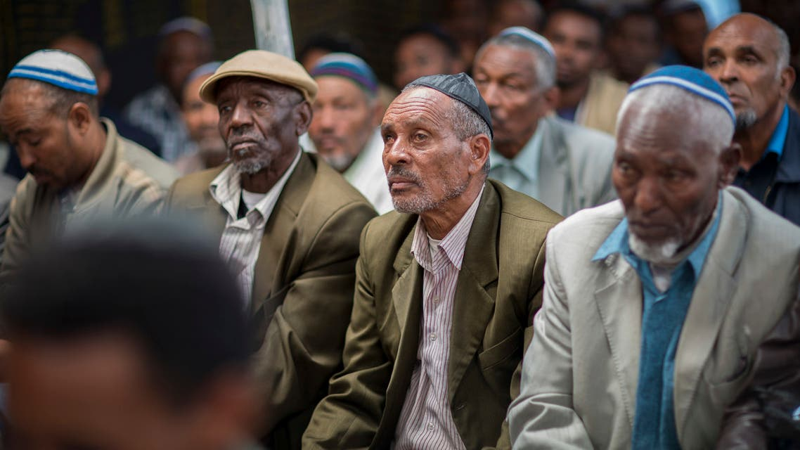 Members of Ethiopia's Jewish community gather at the synagogue in Addis Ababa, Ethiopia, Monday, Nov. 19, 2018. (AP)
