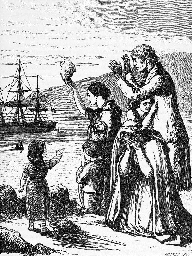 لوحة تجسد انطلاق أحد مراكب المهاجرين الأيرلنديين نحو الولايات المتحدة الأميركية