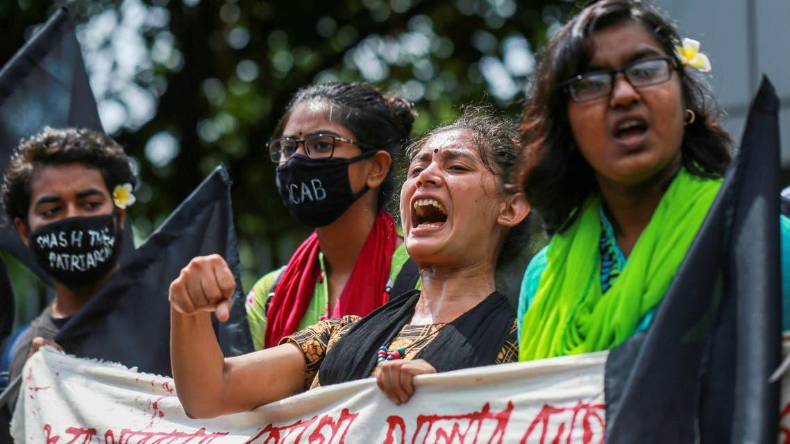 Students shout slogans to protest against an alleged gang-rape and stripping and torturing of a woman in the southern district of Noakhali during a demonstration in Dhaka on October 6, 2020. (AFP)
