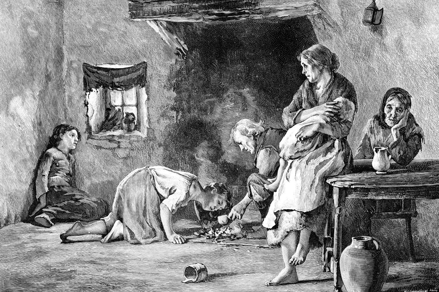 رسم تخيلي يجسد مظاهر البؤس والجوع بين الأيرلنديين زمن المجاعة