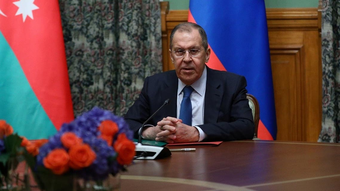 Russian Foreign Minister Lavrov attends a meeting with Azeri Foreign Minister Bayramov and Armenian Foreign Minister Mnatsakanyan in Moscow. (Reuters)