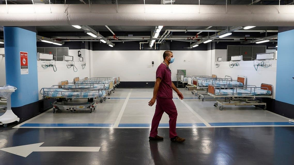 A partial view shows empty beds installed in the underground parking of Rambam Health Care Campus which was transformed into an intensive care facility for coronavirus patients in Haifa, September 23, 2020. (AFP)