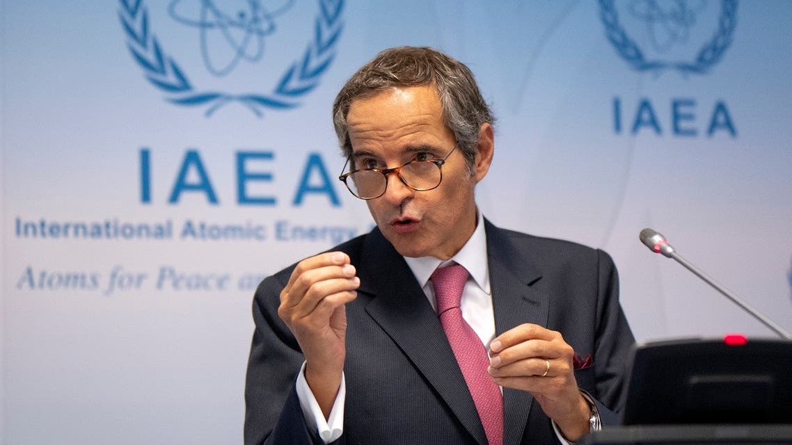 Rafael Grossi, IAEA's chief speaks during a press conference at the agency's headquarters in Vienna, Austria on September 14, 2020. (AFP/Joe Klamar)