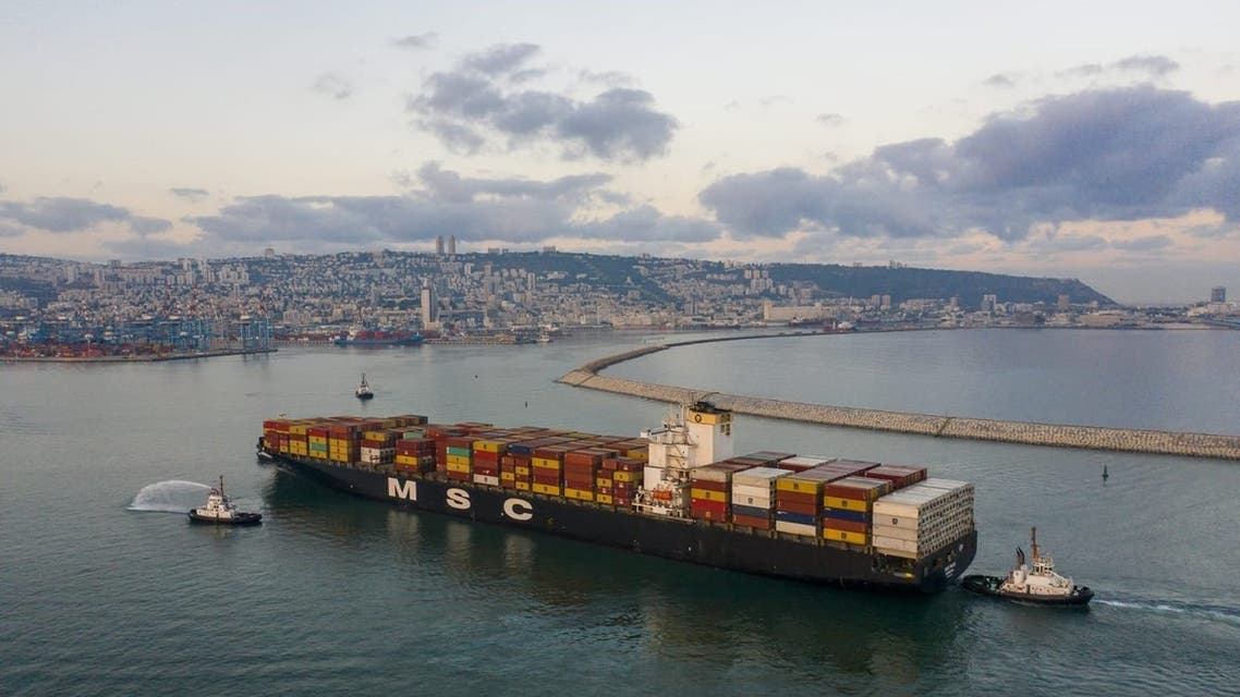 The MSC cargo ship in the port of Haifa, Israel. (Twitter)