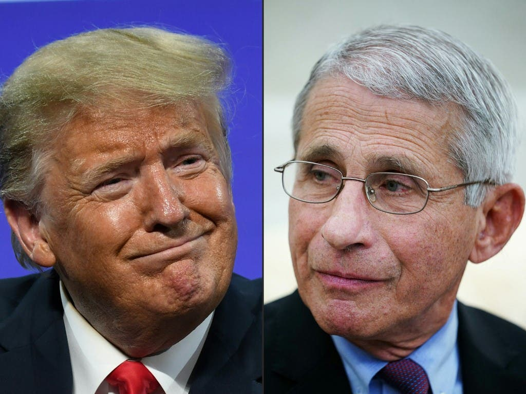 In this file combination of pictures created on July 13, 2020 shows US President Donald Trump in Phoenix, Arizona, June 23, 2020 and Anthony Fauci , director of the National Institute of Allergy and Infectious Diseases in Washington, DC on April 29, 2020. (AFP)