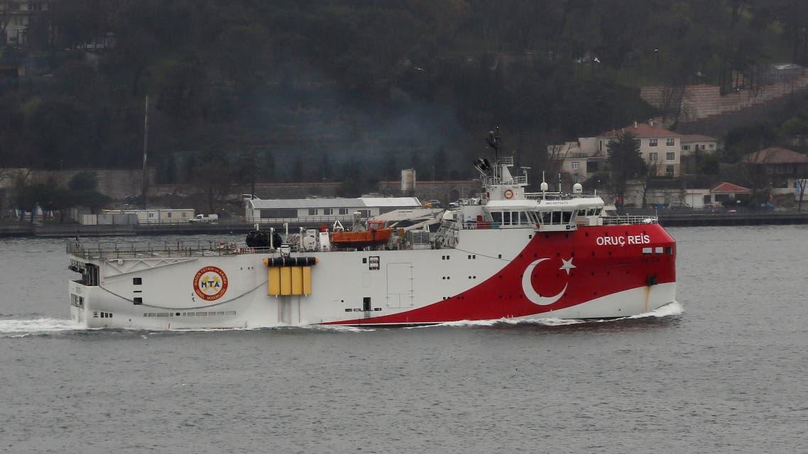 Turkish seismic research vessel Oruc Reis sails in the Bosphorus in Istanbul, Turkey, December 25, 2018. Picture taken December 25, 2018. (Reuters)