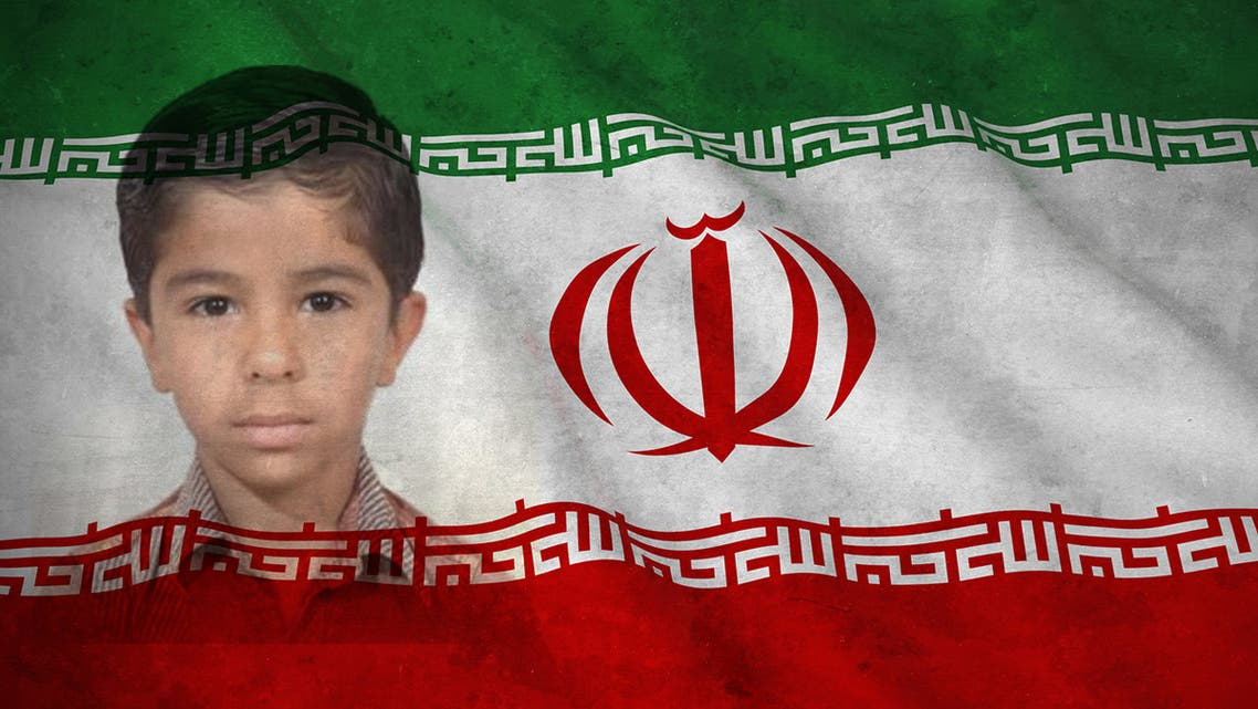 A photo of Iranian boy Mohammad Mousavizadeh, with the flag of Iran. (Twitter)