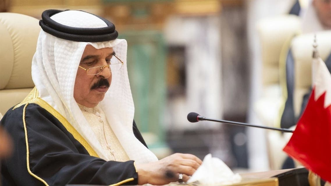 This handout photo taken and released by the Saudi Royal Palace on May 31, 2019 shows Bahrain's King Hamad Al-Khalifa attending the GCC held at al-Safa Royal Palace in the Saudi holy city of Mecca. (Reuters)