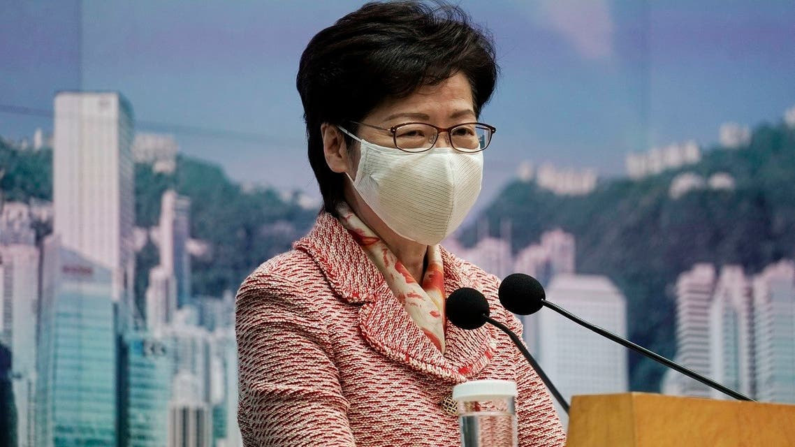 Hong Kong Chief Executive Carrie Lam speaks during a press conference in Hong Kong, on Oct. 6, 2020. (AP