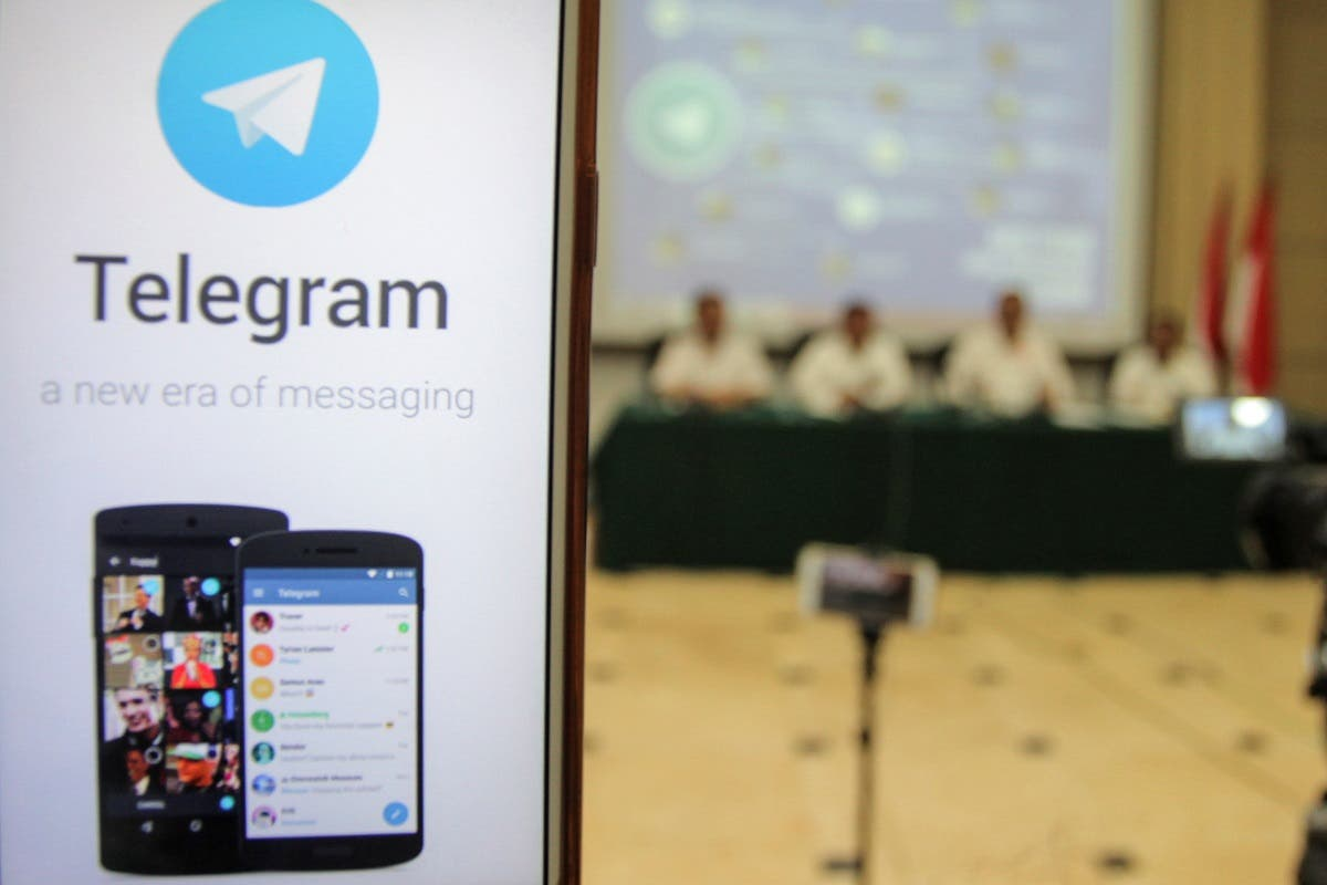 A picture of encrypted messaging service Telegram is seen during a conference after Indonesian authorities blocked access to some Telegram channels in Jakarta, Indonesia, July 17, 2017. (Antara Foto/Muhammad Adimaja via Reuters)