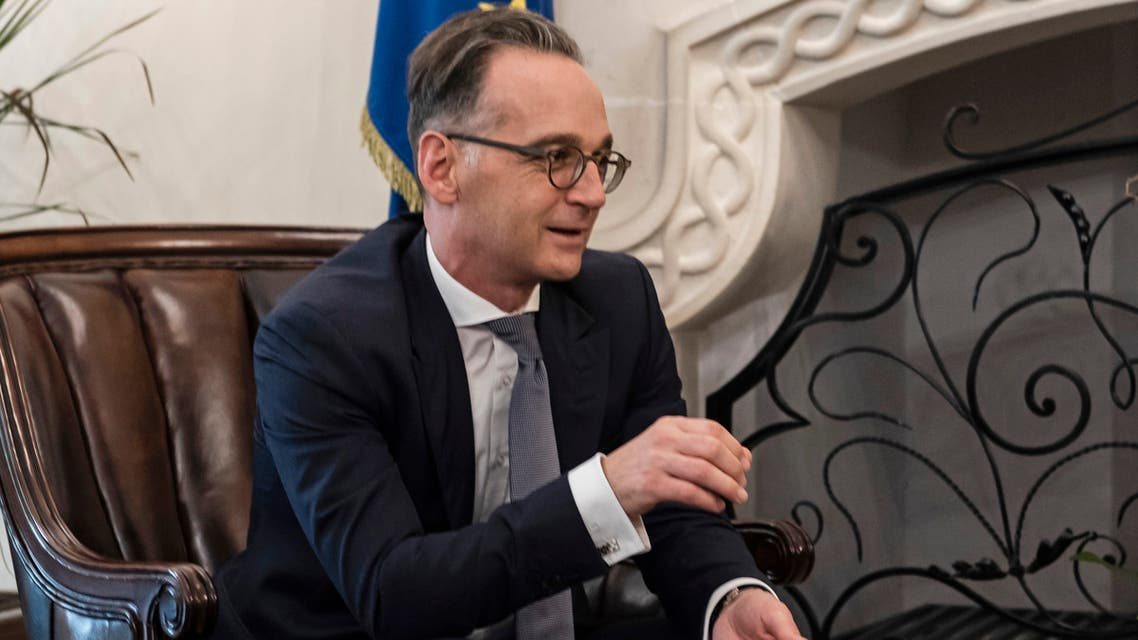 Cypriot President Nicos Anastasiades (R) meets with German Foreign Minister Heiko Maas at the presidential palace in the capital Nicosia on October 13, 2020.