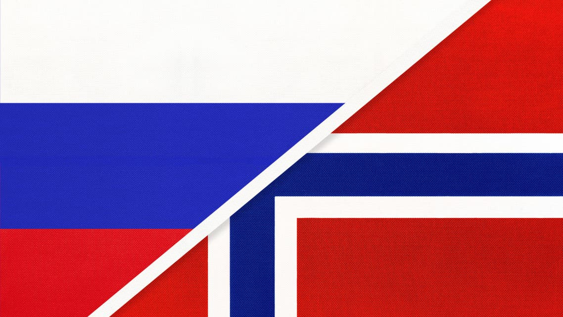 Russia vs Norway national flag from textile. Relationship and partnership between two countries. stock illustration