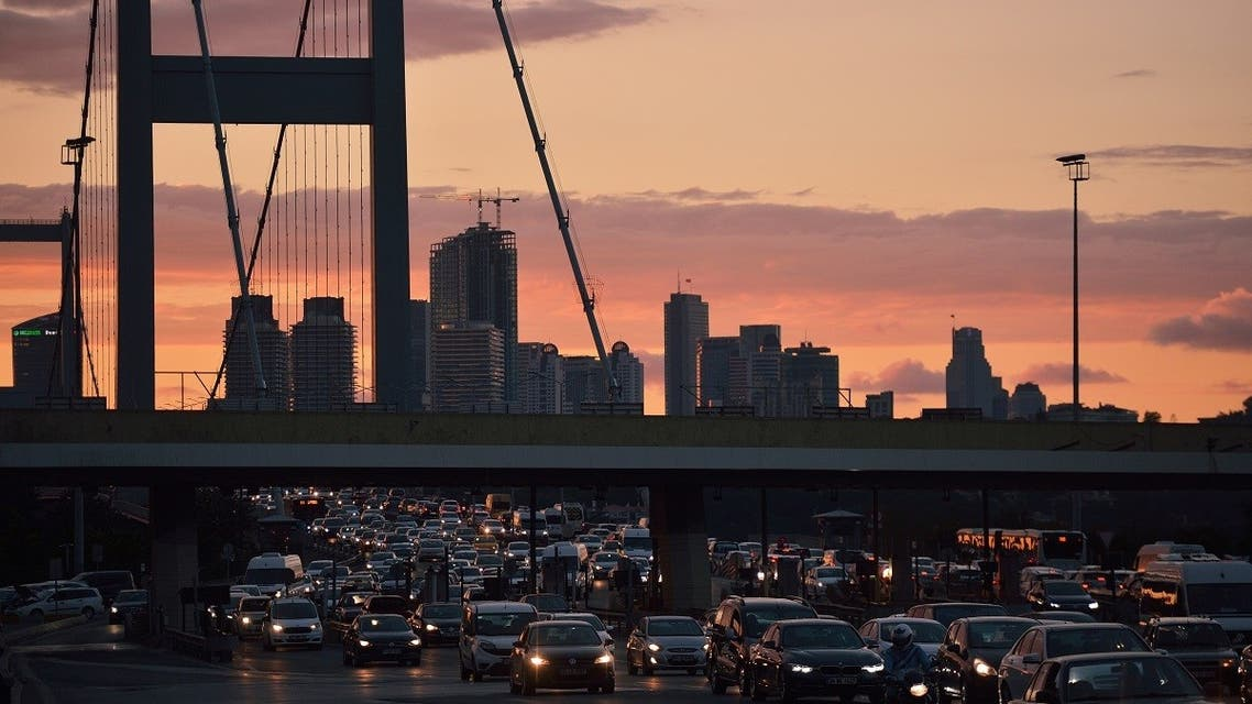 A picture taken from the Bosfo bridge on July 20, 2016 shows the traffic and the skyline in Istanbul on July 20, 2016. (AFP)
