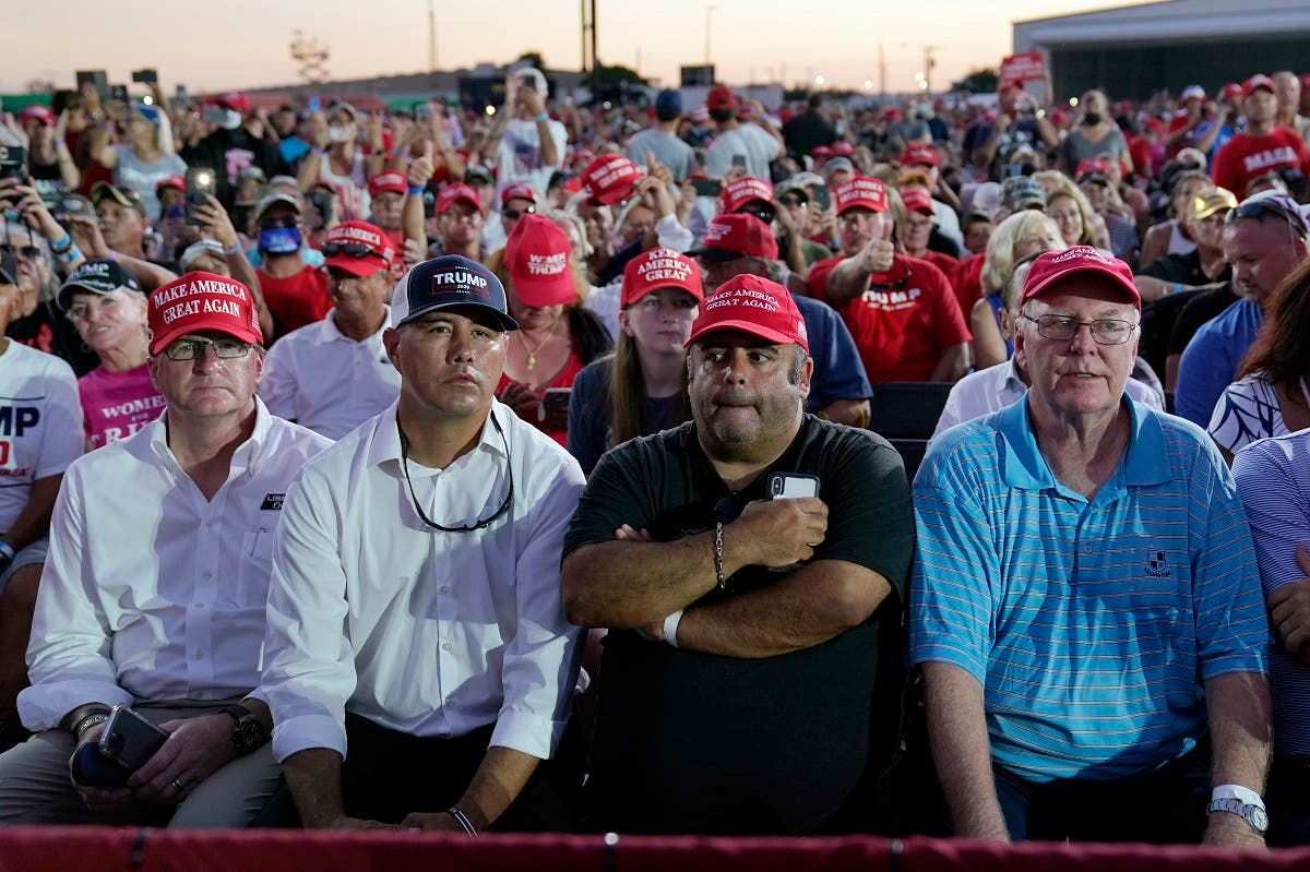 Supporters listen as President Donald Trump speaks during a campaign rally at Orlando Sanford International Airport, Oct. 12, 2020, in Sanford, Fla. (AP)