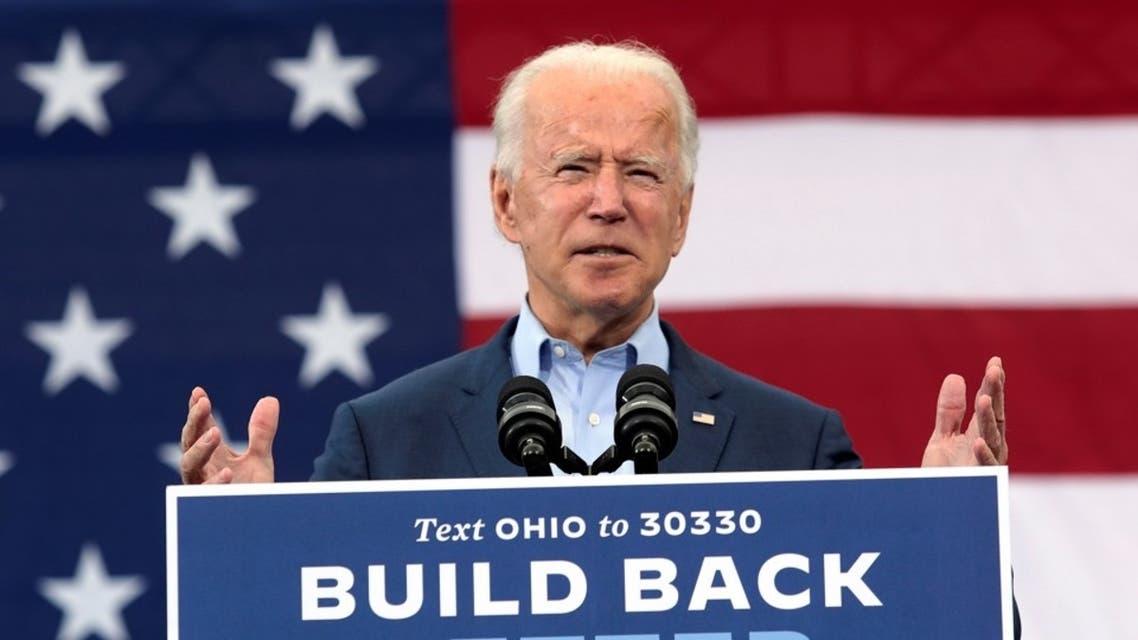 US Democratic candidate Joe Biden speaks during a drive-in campaign event in Toledo, Ohio, Oct. 12, 2020. (Reuters)