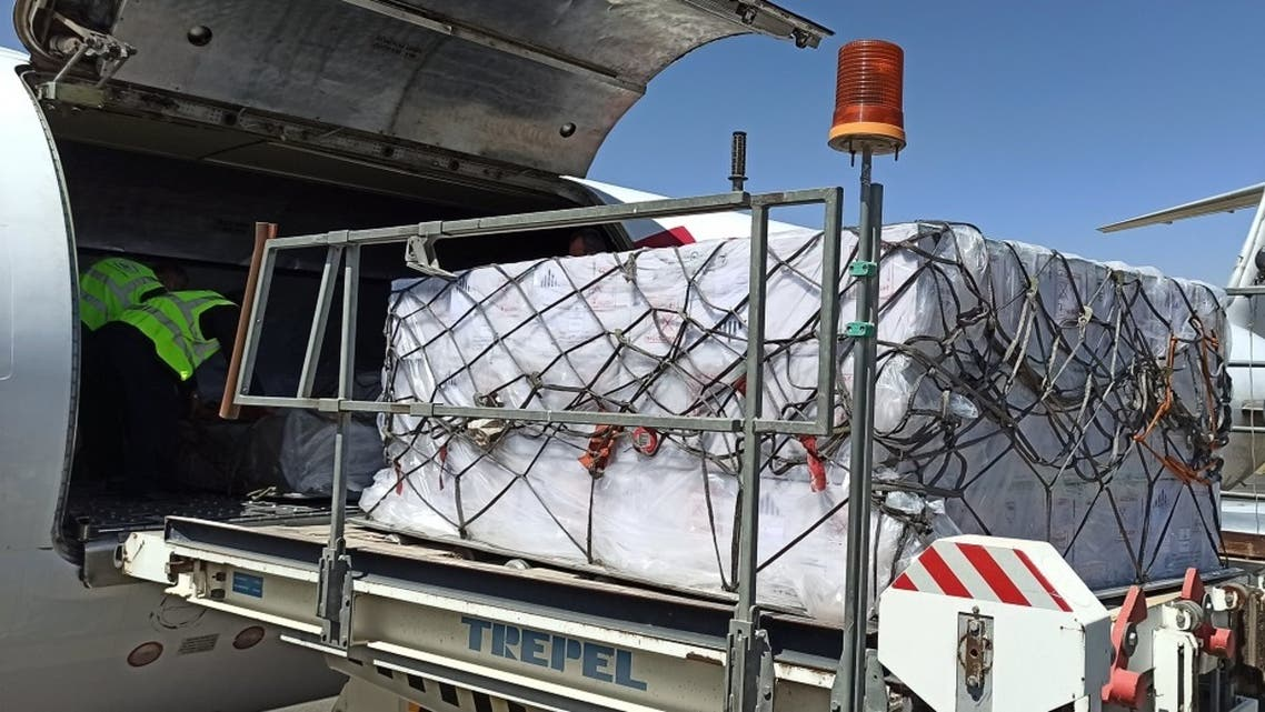 A plane owned by Nairobi-based air cargo operator Astral Aviation lands in Sanaa airport on October 6, 2020 carrying the first batch of the oral polio vaccines. (Courtesy/@UNICEF_Yemen)