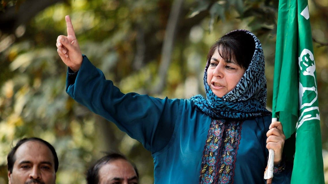 Mehbooba Mufti, president of People's Democratic Party (PDP), Kashmir's main opposition party, speaks after police stopped her protest march in Srinagar. (File photo: Reuters)
