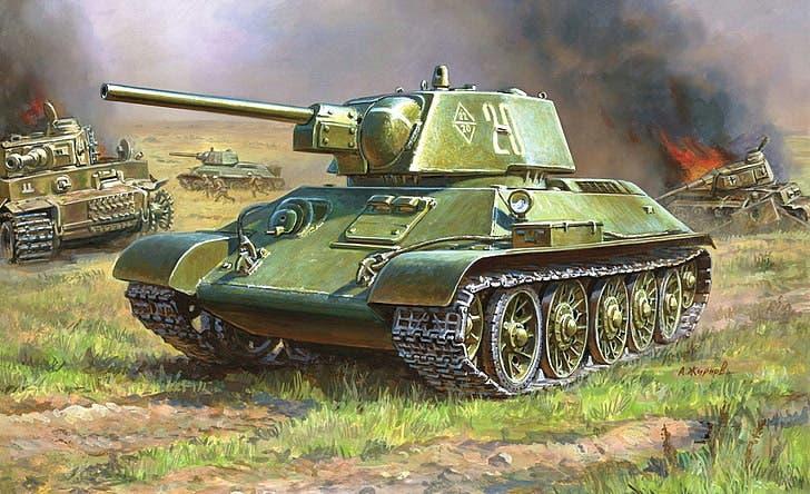 لوحة تجسد الدبابة السوفيتية تي 34