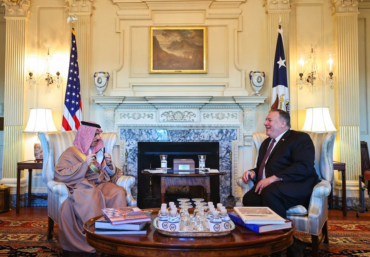 US Secretary of State Pompeo and Saudi Foreign Minister Prince Faisal bin Farhan speak in Washington, Oct. 14, 2020. (Saudi Foreign Ministry)