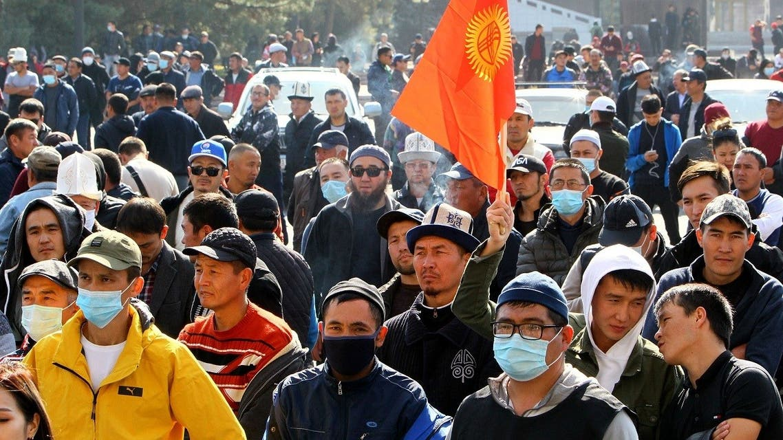 People attend a rally to demand the resignation of Kyrgyzstan's President Sooronbai Jeenbekov in Biskek, Kyrgyzstan, on October 14, 2020. (Reuters)