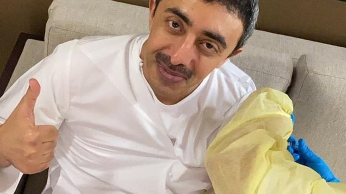 Minister of Foreign Affairs and International Cooperation Sheikh Abdullah bin Zayed Al Nahyan receives a COVID-19 vaccine dose. (Twitter)