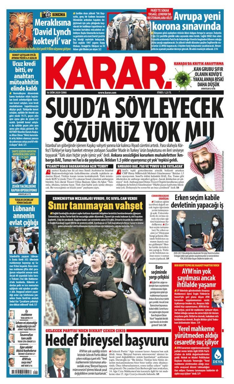 """صحيفة """"قرار"""" التركية"""