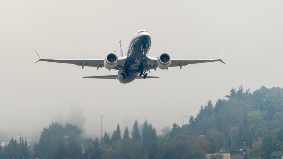 A Boeing 737 MAX airplane piloted by FAA Chief Steve Dickson takes off during a test flight from Boeing Field, on September 30, 2020 in Seattle, Washington. (AFP)