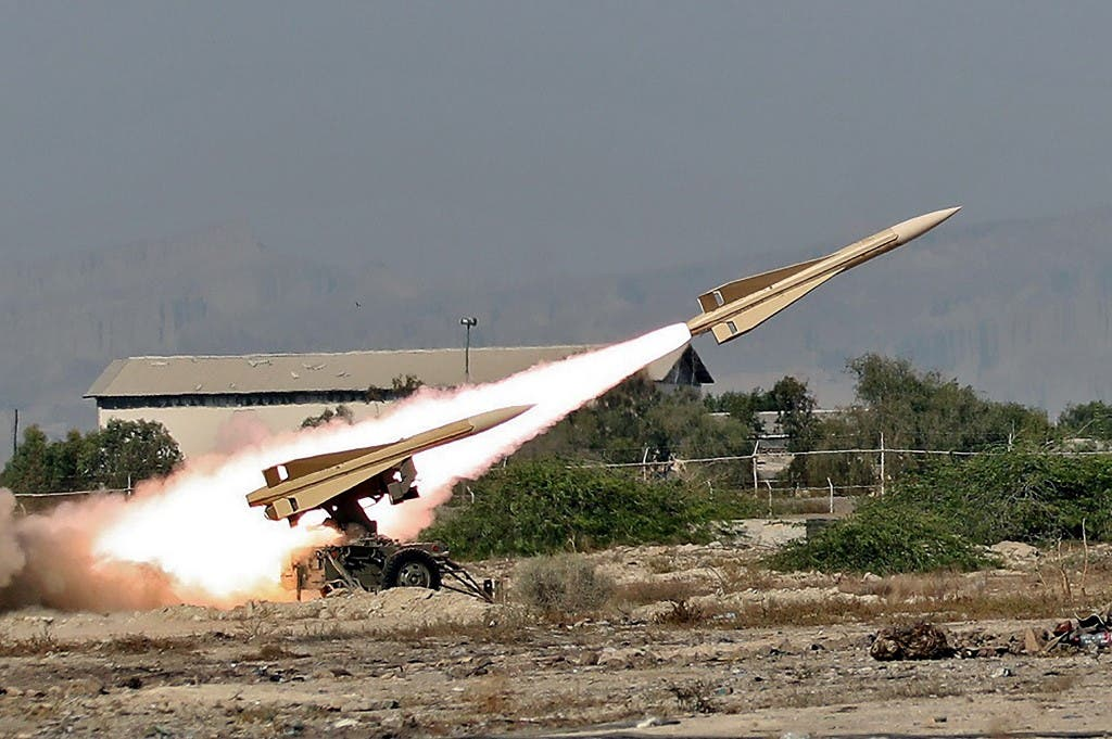 An Iranian Shalamcheh missile being fired during a military exercise in the Gulf, Sept. 10, 2020. (AFP)