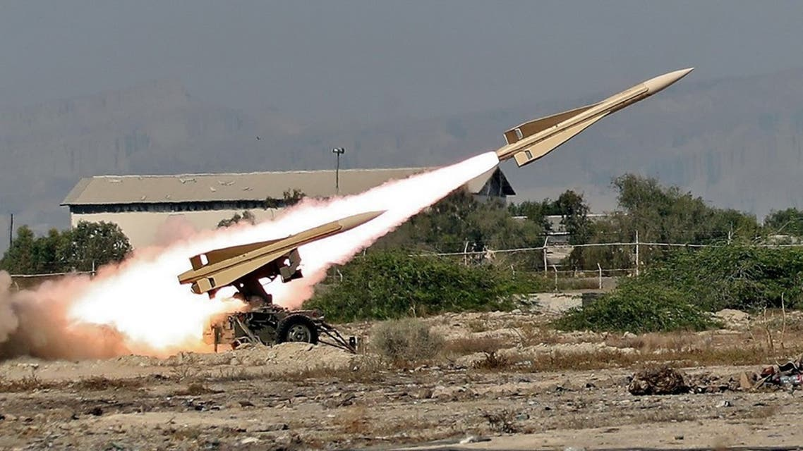 A handout picture provided by the Iranian Army official website on September 10, 2020 shows an Iranian Shalamcheh missile being fired during a military exercise in the Gulf, near strategic strait of Hormuz. (AFP)