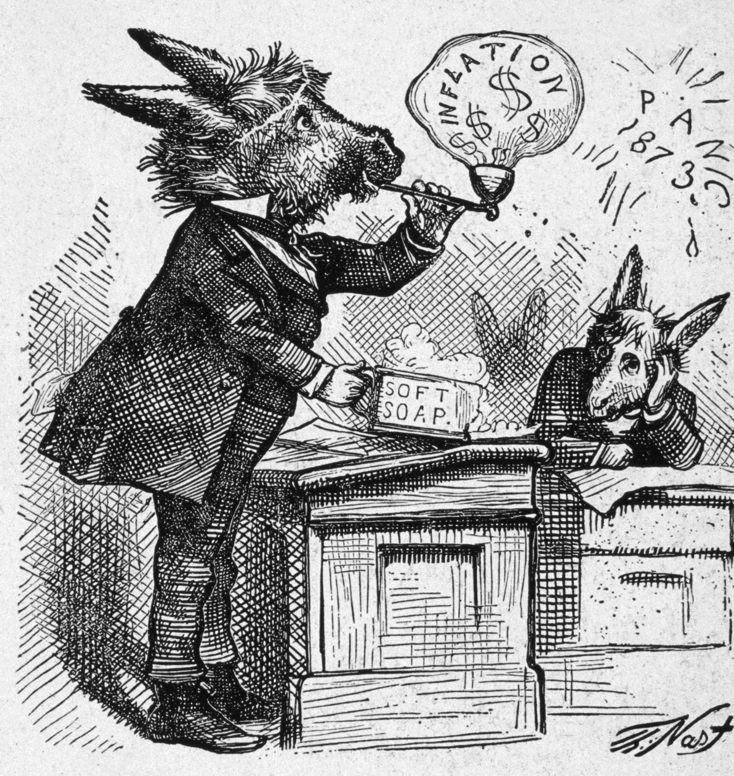 كاريكاتير يجسد السياسة الاقتصادية الفاشلة للديمقراطيين